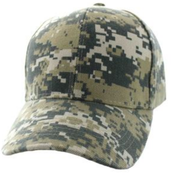 Solid Baseball Cap – Digital Camo ($15.00/dz)
