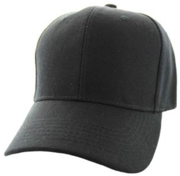 Solid Baseball Cap – Black ($15.00/dz)