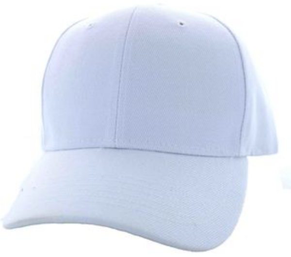 Solid Baseball Cap – White ($15.00/dz)